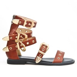 Camel flat sandal with buckled bridle