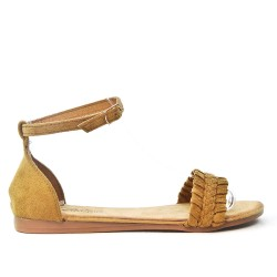 Flat camel sandal with braided flange