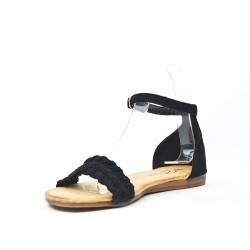 Black flat sandal with braided flange