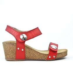 Red wedge sandal with velcro strap