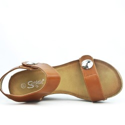 Camel wedge sandal with velcro strap
