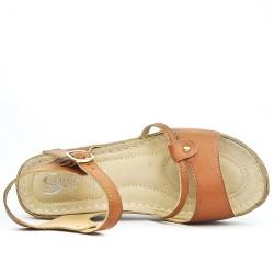 Comfort camel wedge sandal