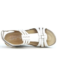 White wedge sandal in leather