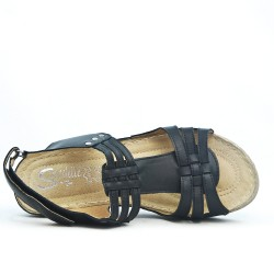 Black wedge sandal in leather
