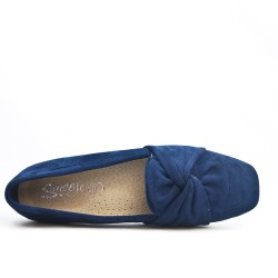 Blue loafer with bow