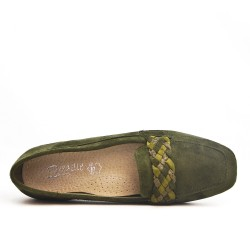 Green moccasin with braided bridle