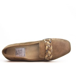 Beige mocassin with braided bridle