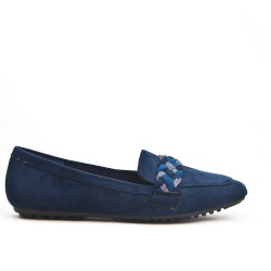 Blue moccasin with braided bridle