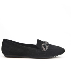 Black moccasin with braided bridle