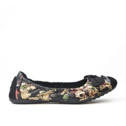 Available in 9 colors Large floral print ballerina