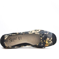 Available in 8 colors Large floral print ballerina