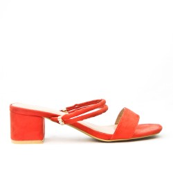 Orange slate with square heel