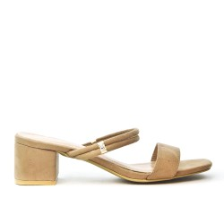 Taupe flap with square heel