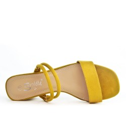 Yellow flapper with square heel
