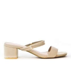Beige slate with square heel