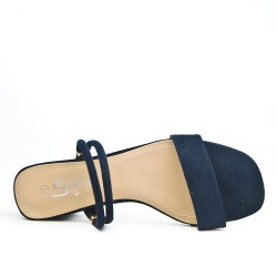 Navy blue cloche with square heel