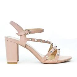 Pink sandal with big heel