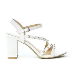 White sandal with big heel