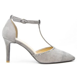 Gray sandal in faux suede with heel