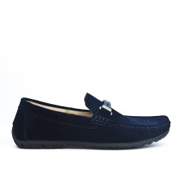 Navy moccasin with braided bridle