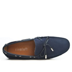 Navy blue suede loafer with bow