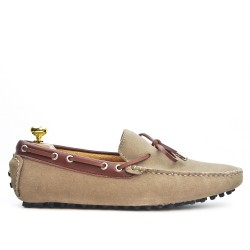 Beige suede leather loafer with bow