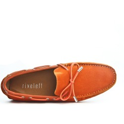 Orange loafer in suede leather with bow