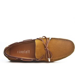 Camel suede leather moccasin with bow