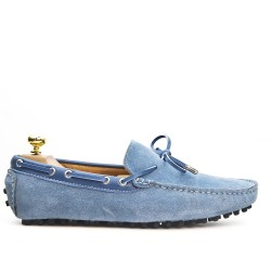Blue suede loafer with bow