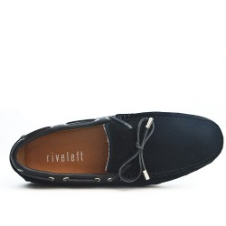Black suede leather moccasin with bow
