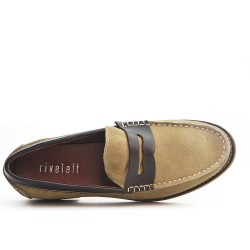 Beige leather moccasin with flange