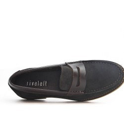 Brown leather moccasin with flange
