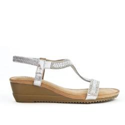Sandale petit compensée argent ornée de strass