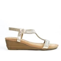 Sandale petit compensée dorée ornée de strass