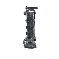 Black sandal with buckled straps