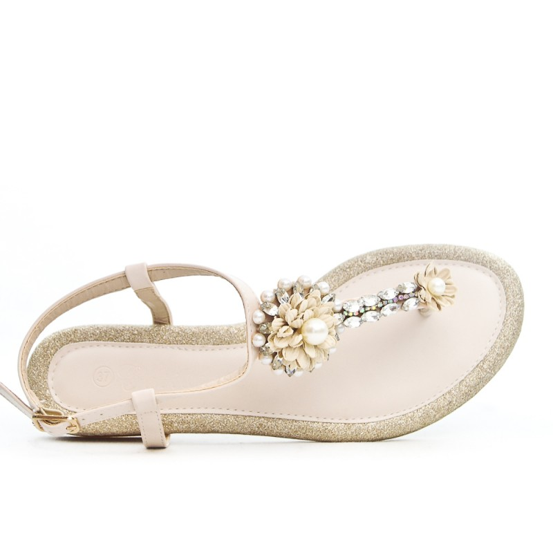 037d7c5e29aadb Beige flat sandal with rhinestones and pearls
