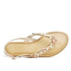 Sandale plate champagne ornée de strass