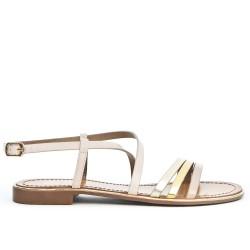 Sandale plate blanche à brides