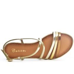 Sandale plate dorée à brides