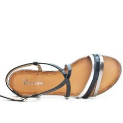 Sandale plate noire à brides