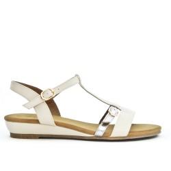 Sandale blanche à bride bouclée