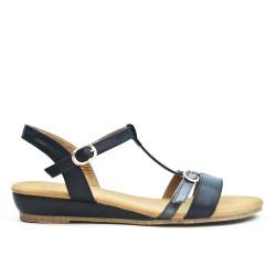 Sandale noire à bride bouclée