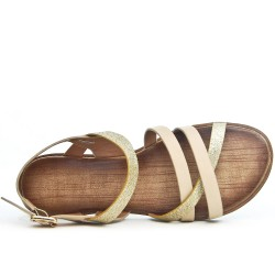 Sandale beige à bride pailletée
