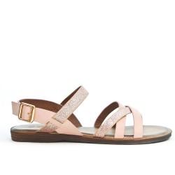 Sandale rose à bride pailletée