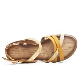 Sandale jaune à bride pailletée