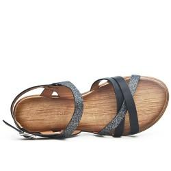 Sandale noire à bride pailletée