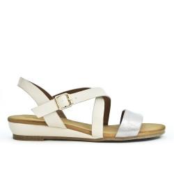 White faux leather sandal