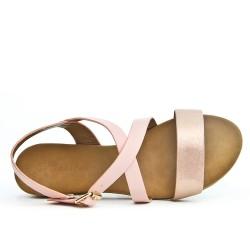 Sandale rose en simili cuir
