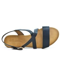 Black imitation leather sandal