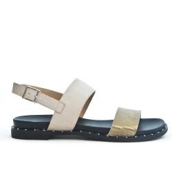 White sandal in bi-material